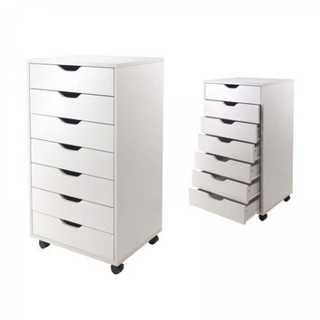 "7 Drawer Halifax Cabinet (White) (35.35""H x 19.21""W x 15.98""D)"