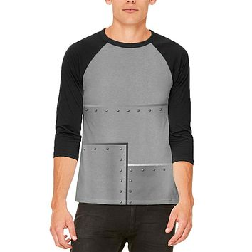 Halloween Robot Rivets Costume Steel Mens Raglan T Shirt