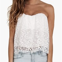 Jennifer Hope - Strapless Lace Flow Top- White- Big Drop NYC