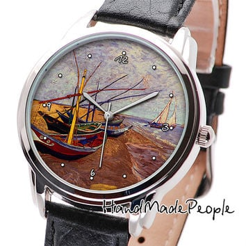 Wrist Watch Vincent van Gogh Fishing Boats on the Beach Painting, Women Watches, Men Watches, Anniversary Gift, Gift Idea - Free Shipping