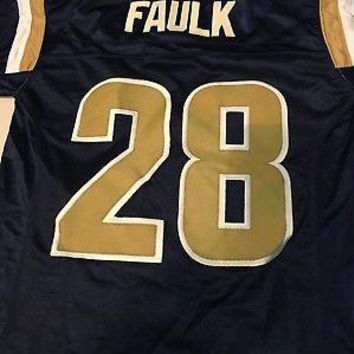 MARSHALL FAULK #28 ST. LOUIS RAMS (HALL OF FAMER) RETRO YOUTH STITCHED JERSEY