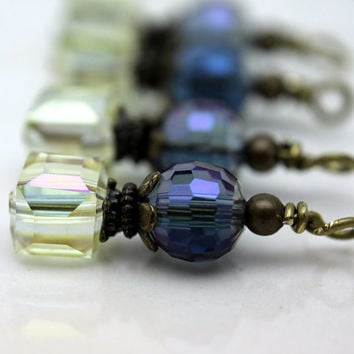 Antiqued Clear AB Faceted Square Cube and Purple Colorized Round Bead Earring Dangle Charm Set