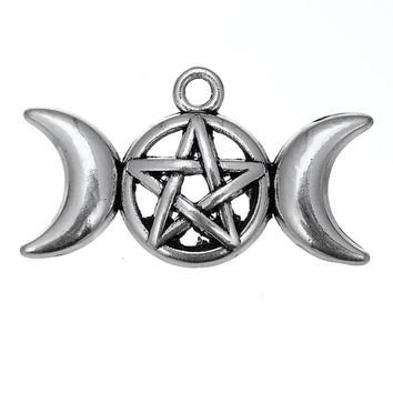 my shape Antique Triple Moon Goddess Pendant Charms Fit Necklace Bracelet Pentagram Pentacle Protection Star 20pcs lot