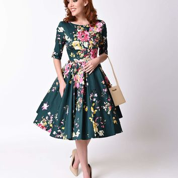Vintage Deep Green Seville Floral Half Sleeve Hepburn Swing Dress