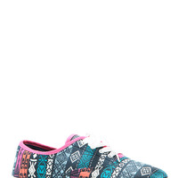Tribal Print Lace Up Canvas Sneakers