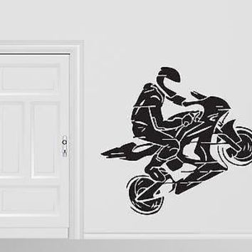 Wall Vinyl Sticker Motorcycle Racer Helmet Jump Motorbike Gloves Unique Gift (n244)