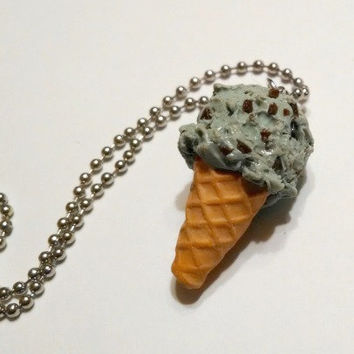 Mint Chocolate Chip Ice Cream Cone Pendant, Polymer Clay Necklace, Food Jewelry