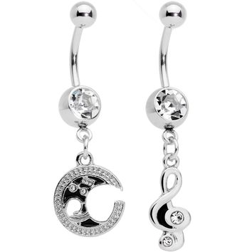Clear Gem Moon Treble Clef Dangle Belly Ring Set of 2