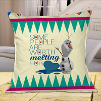 Disney Frozen Olaf Quote I Like Warm Hugs On Pink Chevron  on Square Pillow Cover