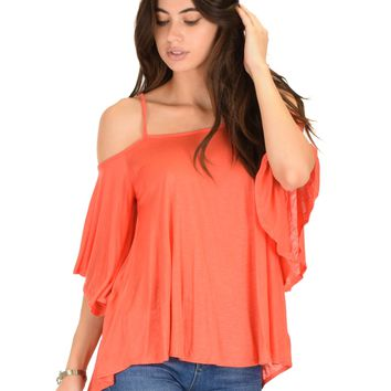 Lyss Loo Sway Me Off The Shoulder Coral Strappy Top