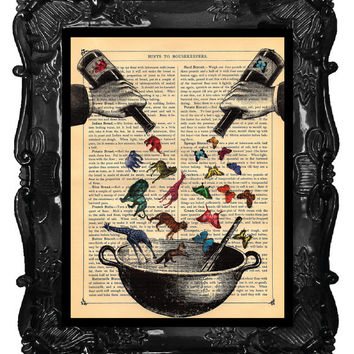 Animals and Butterflies Art Print Antique Book Page or Dictionary Print Elephant Giraffe Ingredients for a Better World Print