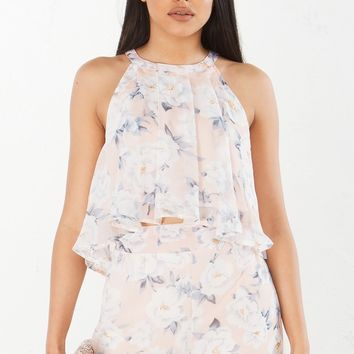 Sleeveless Floral Crop Top in Blush