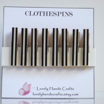 Black Stripe - Decorative mini wooden clothespins - Set of 8