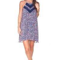 FLORAL LACE TRIM DRESS/ MULTI