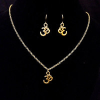 Antiqued bronze Ohm symbol necklace and earring set