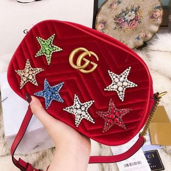 GUCCI 2018 new gold velvet five-pointed star rhinestone small round bag chain shoulder diagonal package F-BCZ(CJZX) red