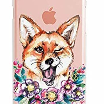 Lex Altern Xs Max Case iPhone X 8 Plus 7 6s 6 SE 5s 5 TPU Cute Funny Fox Clear Silicone Apple Animal Phone Floral Cover Flowers Print Protective Lightweight Flexible Wink Girl Women Xr Transparent