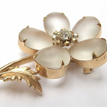 vintage wedding brooch, camphor glass flower brooch pin, rhinestones, aurora  borealis, gold enamel, bridesmaid jewelry