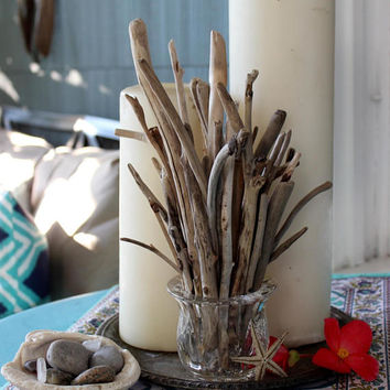 Coastal Home Decor Driftwood Arrangement in Vintage Crystal Holder , Beach House Decoration