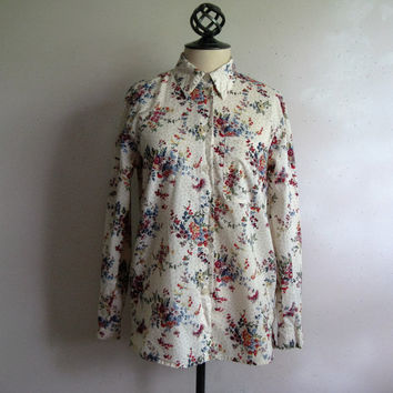 Vintage 1980s Shirt Liberty of London Tilley Endurables Floral Cotton Summer Blouse Small