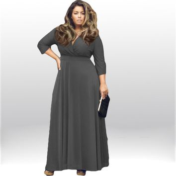 2016 Autumn and Winter Large Big Size Clothing Women Plus Size Long Maxi Dresses with Sleeves Sexy Evening Party Long Dress XXXL