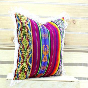 Mexican cushion cover 18x18 Inches Mexican fiesta, Bohemian gypsy décor, Mexican throw pillows, Mexican embroidered, Dark Red Cushion, 18x18E3