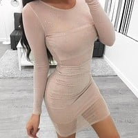 2018 Sexy Round Neck Long Sleeve Dress