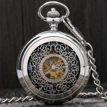 Fashion Silver Steel Steampunk Mechanical Pocket Watch Men Women Necklace Clock GIFT FOB Vintage Hollow Pocket Watch P802