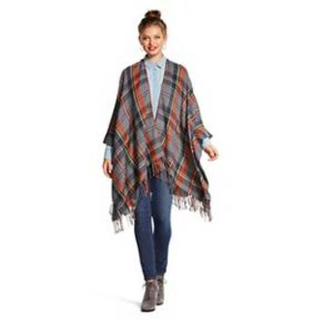 Plaid Poncho Heather Grey - Xhilaration™ : Target
