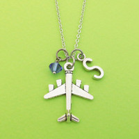Personalized, Letter, Initial, Birthstone, Airplane, Silver, Necklace, Plane, Aircraft, Travel, Alphabet, Necklace, Gift, Jewelry