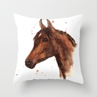 Watercolor HORSE painting, horses, hore art, stallion Throw Pillow by Eastwitching