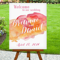 Wedding Welcome Sign, Abstract Watercolor Sign, Large Wedding Sign - PRINTABLE - Digital File