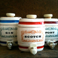 Vintage English Gin Scotch Port Alcohol Dispensers by EnglishShop