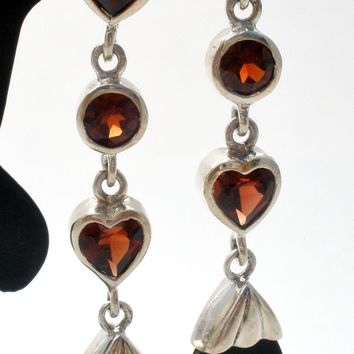 Garnet & Black Onyx Heart Earrings Sterling Silver