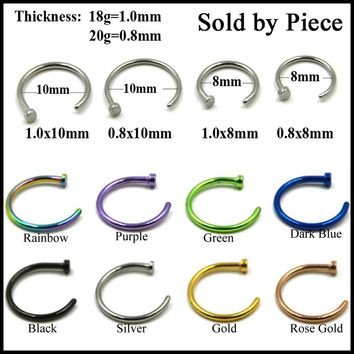 1PC Titanium Anodized Mixed Colors Open Nose Hoop Rings Clip On Nose Studs Lip Ring Ear Helix Fake Piercing Fashion Jewelry