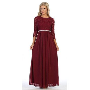 Burgundy Three-Quarter-Sleeve Long Formal Dress A-line