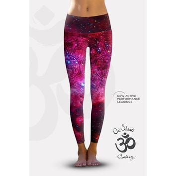 Eco-Friendly Active Performance Leggings, Pink Galaxy Aztec Cluster