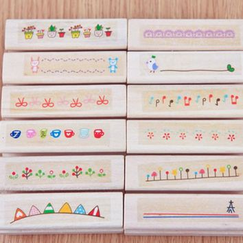 1pc 2*3*7cm Seal Ink Beautiful Diary DIY Wooden House Decoration Album DIY Scrapbooking Rubber Stamp Stationery Set