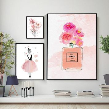 Channel Perfume Romantic Pink Flowers Ballet Canvas Painting Girlish Poster Print Wall Art For Living Room Girls Room Home Decor