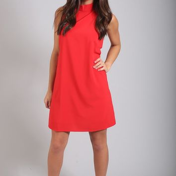 red hot cutout shift dress