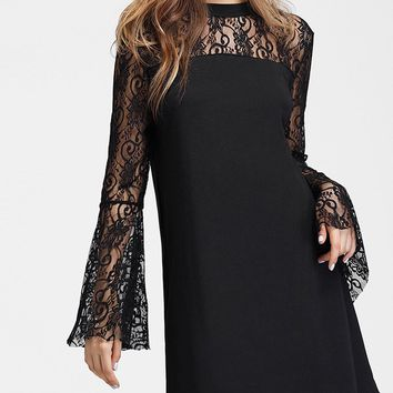 Flared Sleeve Lace Insert Straight Dress