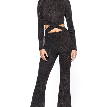 Winter Flake Glittered Crisscross Cutout Jumpsuit