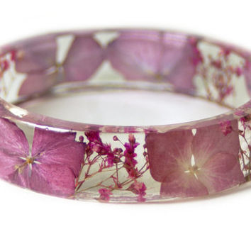 Real Dried Flower Bangle -Pink Flower Bracelet  -Pink Bracelet -Resin Jewelry -Flower Jewelry - Pink Bangle