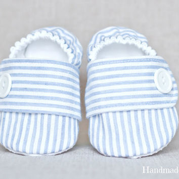 9-12 MONTHS, Ready-to-ship, Baby boy shoes, seersucker shoes, fabric shoes, cloth shoes, baby slippers