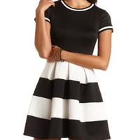 Color Block Ringer Skater Dress by Charlotte Russe - Black/White