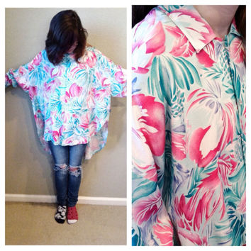 Vintage 80s floral tropical print oversized high low shirt / avant garde / unisex / sea punk / pink and blue / new wave / boy george