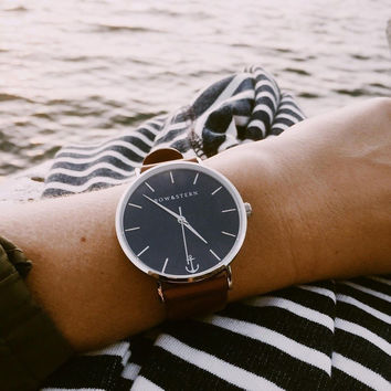 Atlantico Leather Brown Timepiece by Bow & Stern