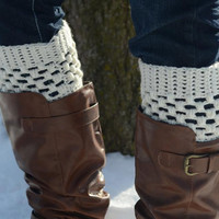 Womens Boot Toppers // Boot Cuffs // Boot Socks // Ivory, Cream, Off White // Puffy Boot Cuffs