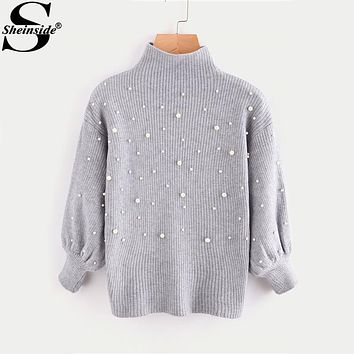 Sheinside Pearl Beading Mock Neck Balloon Sleeve Cute Jumper Women Grey Turtleneck 3/4 Sleeve Elegant Pullovers Sweater