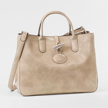 Longchamp Medium Tote Bag - Roseau Box - Nude